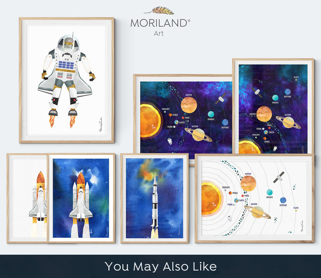 Surfing in Space Print, Vertical Outer Space Art, Printable Astronaut Wall Decor, Space Bedroom, Space Nursery Art, Galaxy Poster, MORILAND