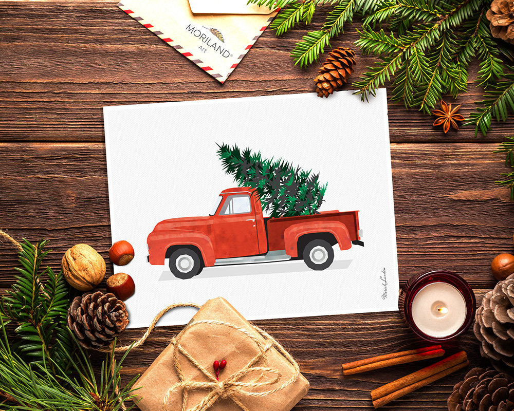 Christmas Truck Print, Red Truck and Christmas Tree Wall Art, Christmas Printable Card, Christmas Decoration, Vintage Red Christmas Truck
