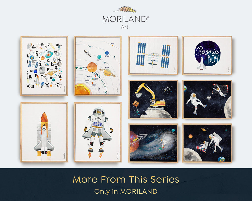 International Space Station Print, Space Art, Outer Space Poster, Space Bedroom, Toddler Art, Two the Moon Party Decoration, MORILAND Art