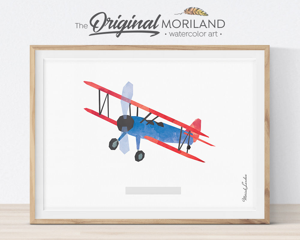 Watercolor Biplane Art Print for Kids Room Decor