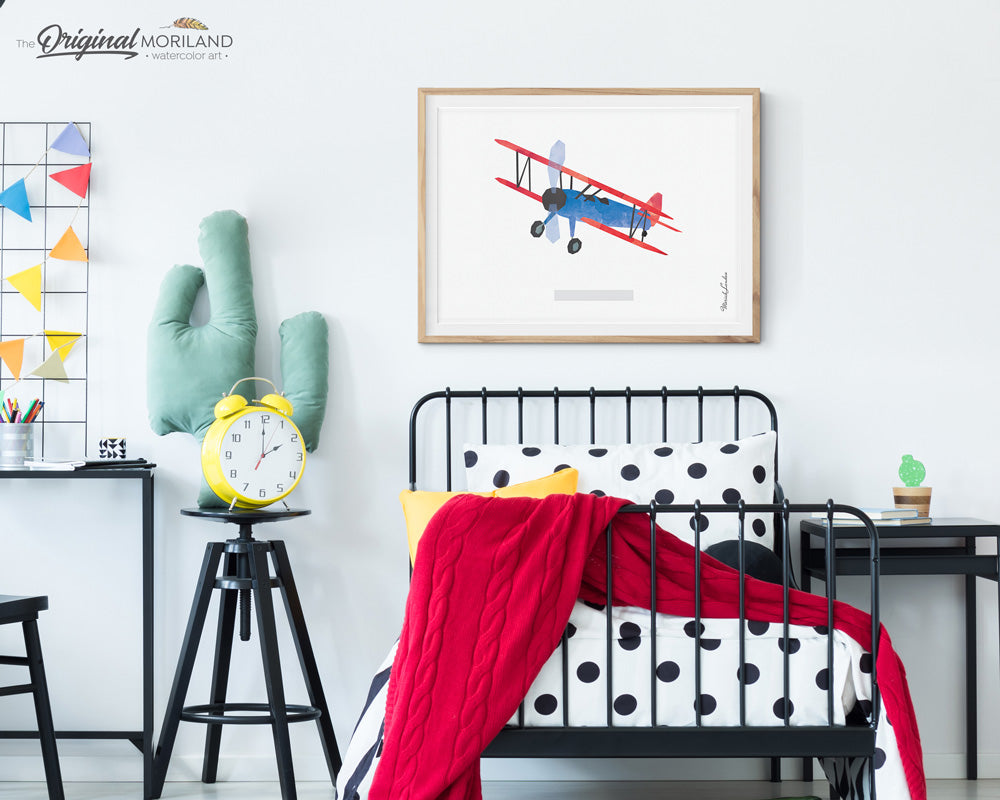 Biplane wall art print for kids boys and nursery decor