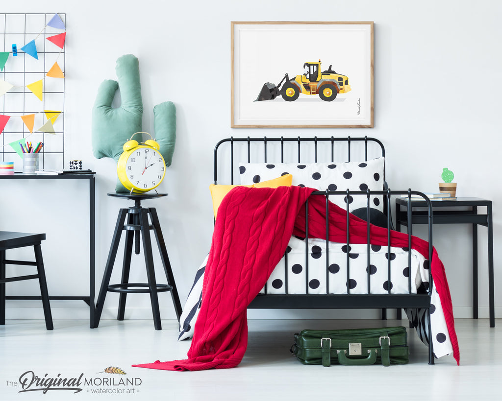 Wheel Loader wall art Print watercolor for boy room and decor