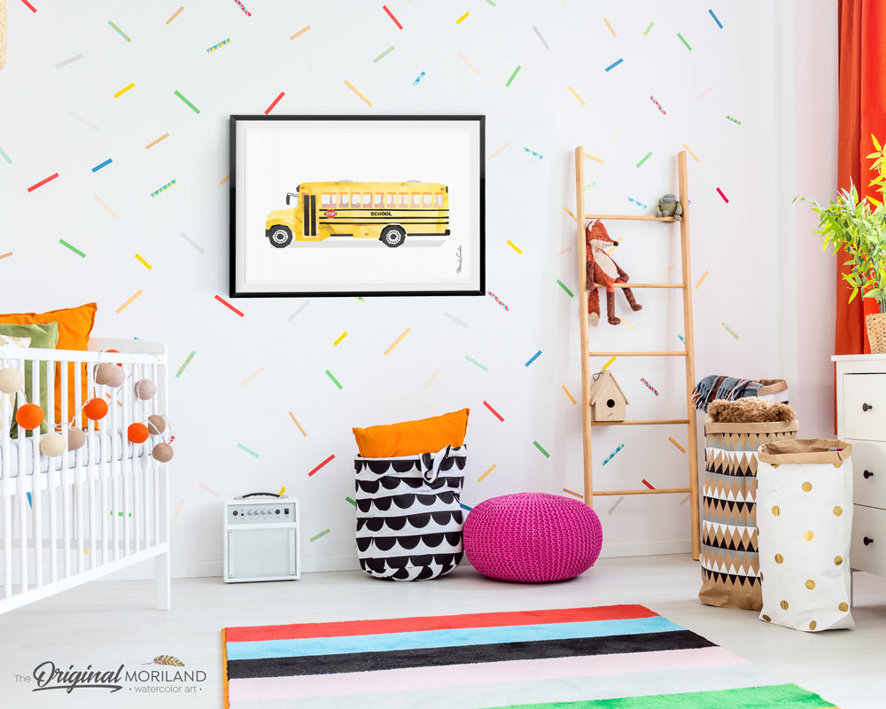 School bus wall art print for kids room and nursery decor