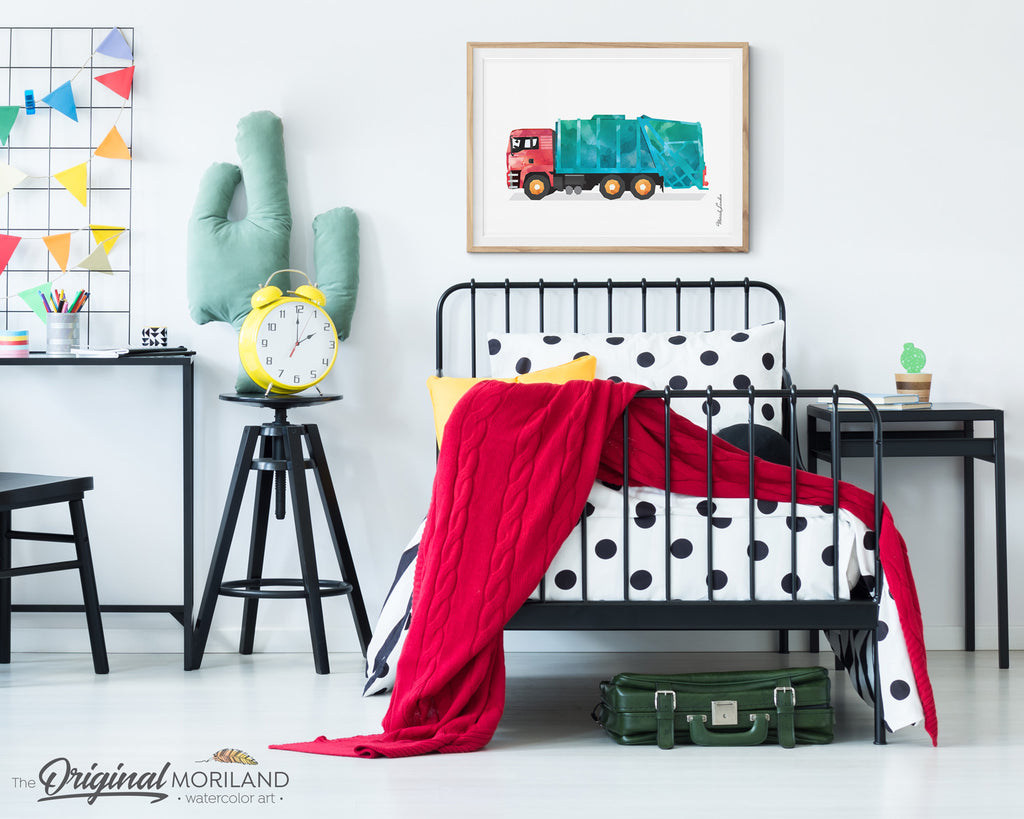 Garbage Truck Wall art Decor for boy room and nursery decor