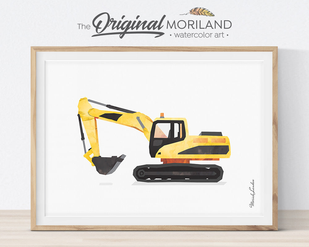 Excavator, Construction, Vehicle, Truck, Print, Wall Art, Toddler, Decor, Printable