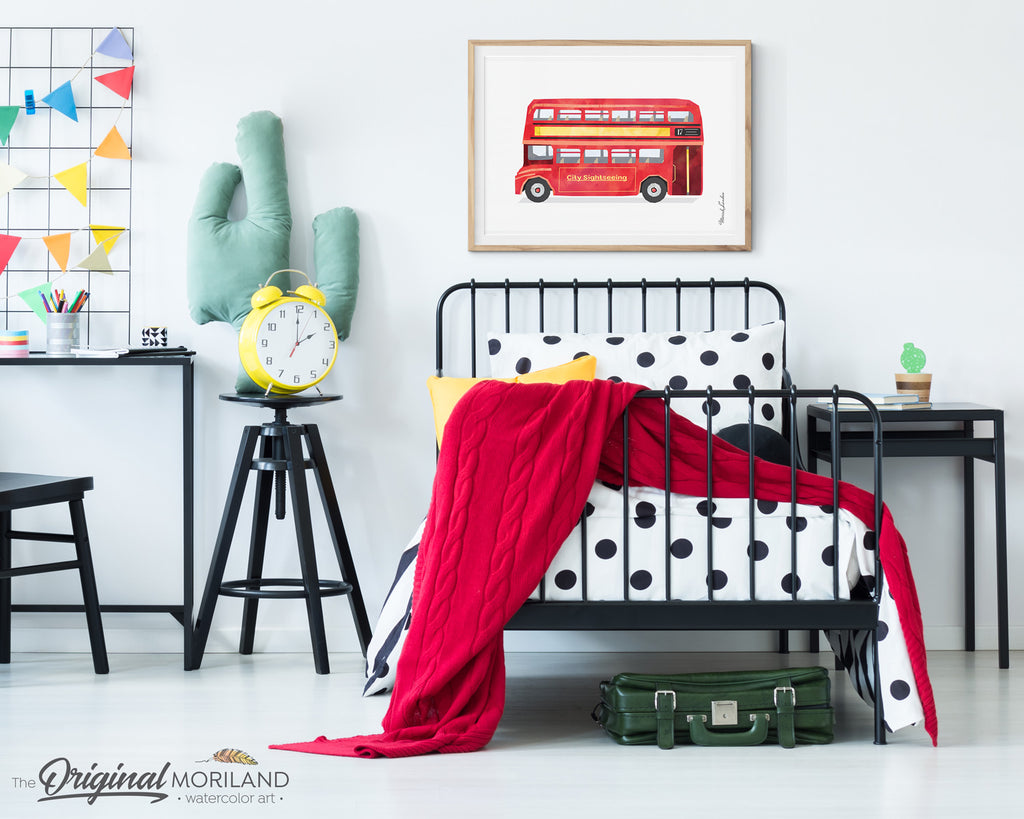 Watercolor Double Decker Red Bus Print for kids room decor by MORILAND