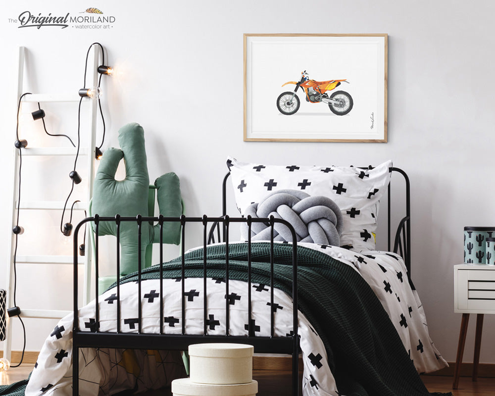 Orange Dirt Bike Wall Art for boys room decor