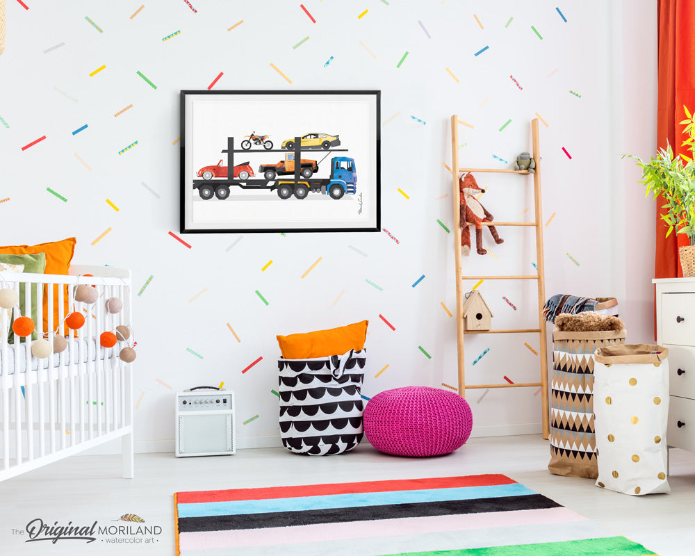 Car carrier truck wall art print for boy bedroom and nursery decor