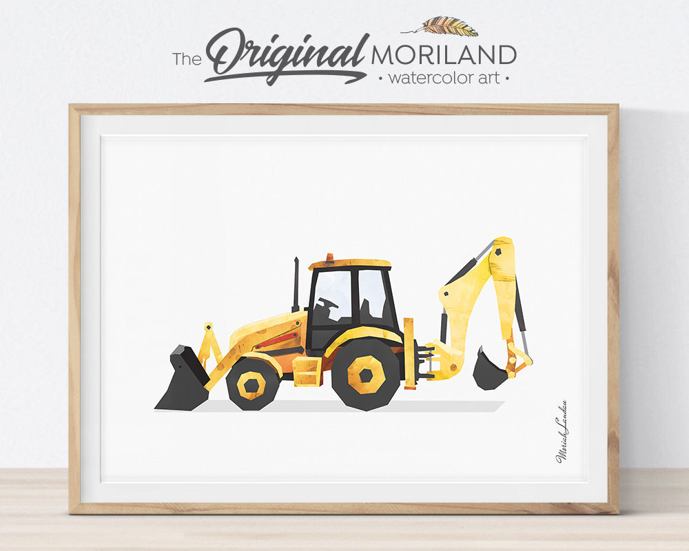 Backhoe, Construction, Vehicle, Truck, Print, Wall Art, Toddler, Decor, Printable