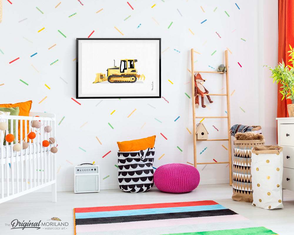 Crawler Bulldozer wall art print for boy room decor