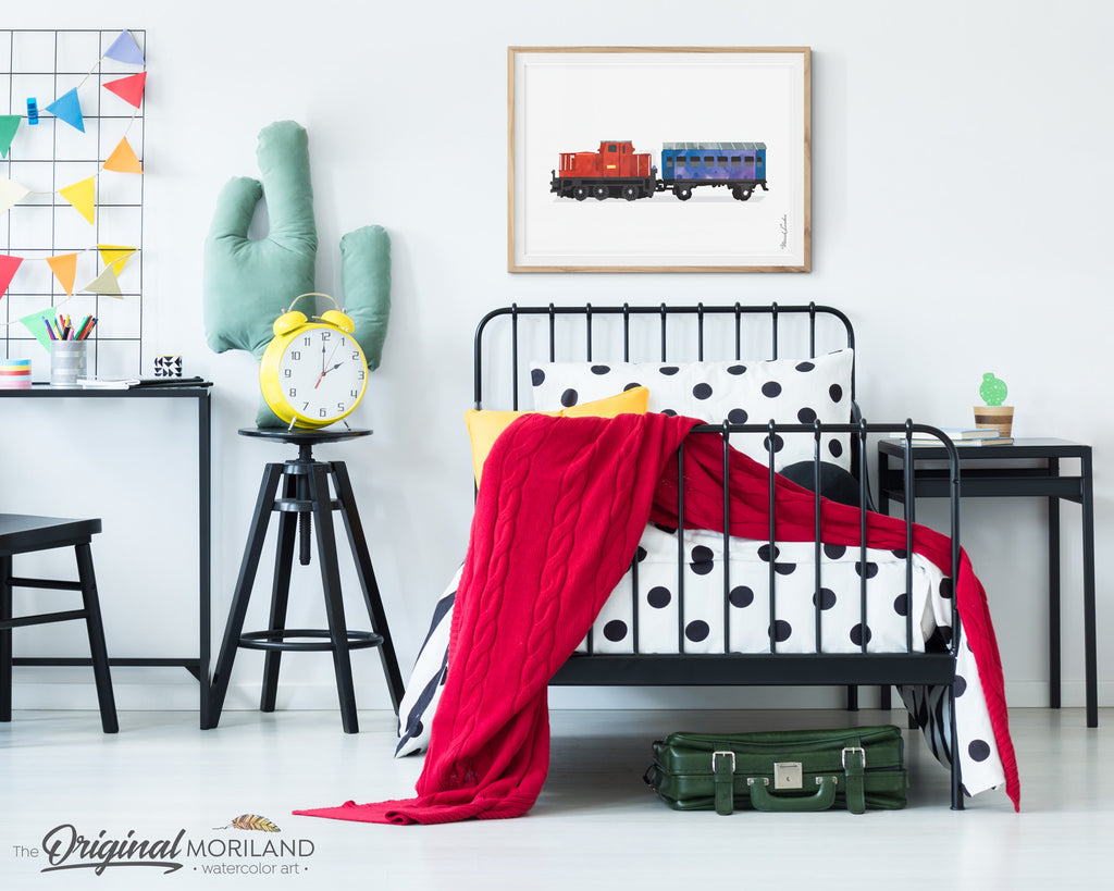 Train wall art print for boy room and nursery decor, watercolor