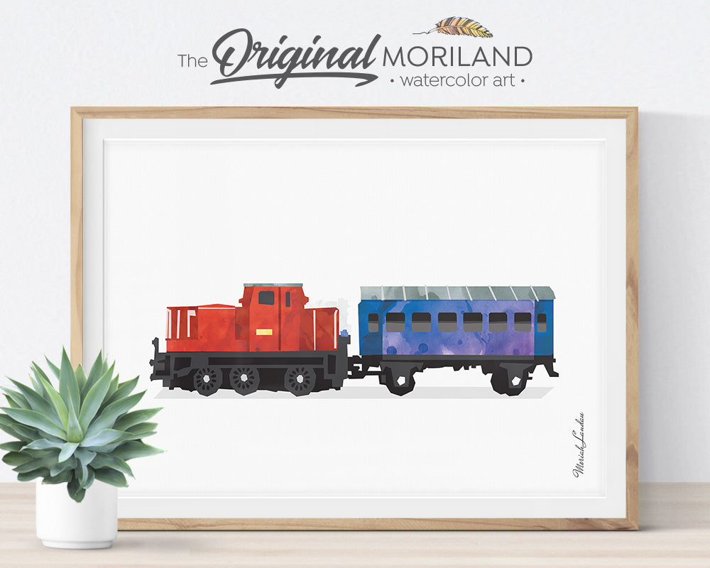 Train Prints, Train Themed Room Decor, Locomotive Wall Art, Watercolor