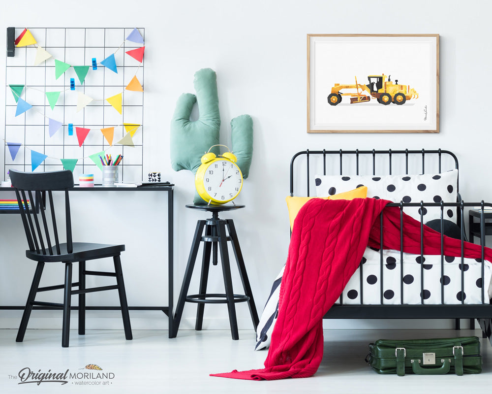 Grader construction watercolor wall art print for big boy room decor