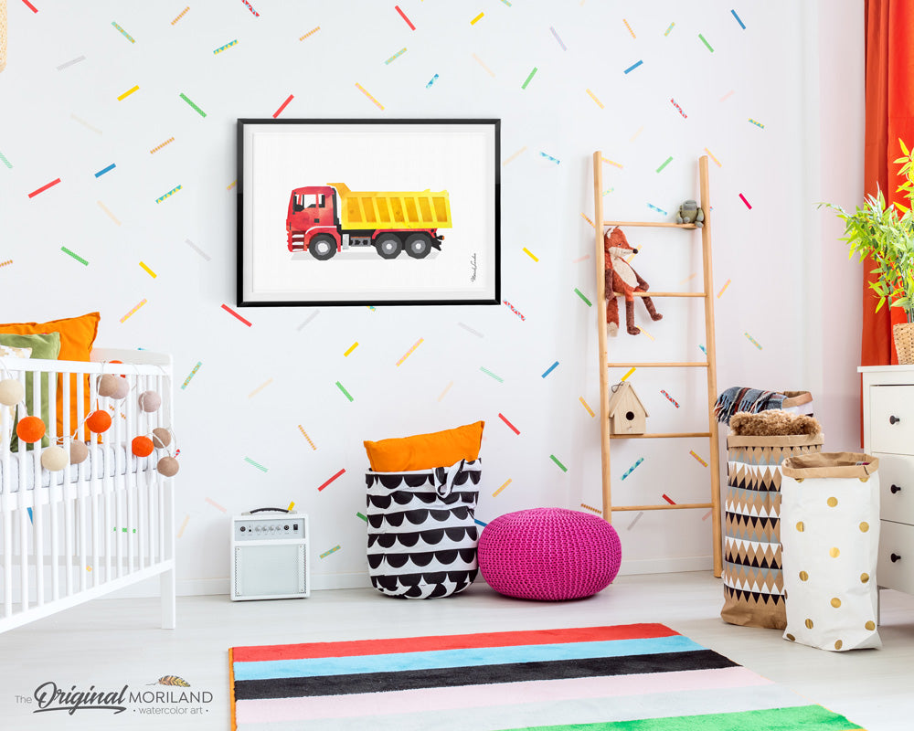 Dump Truck construction Wall art Decor for boy room and nursery decor