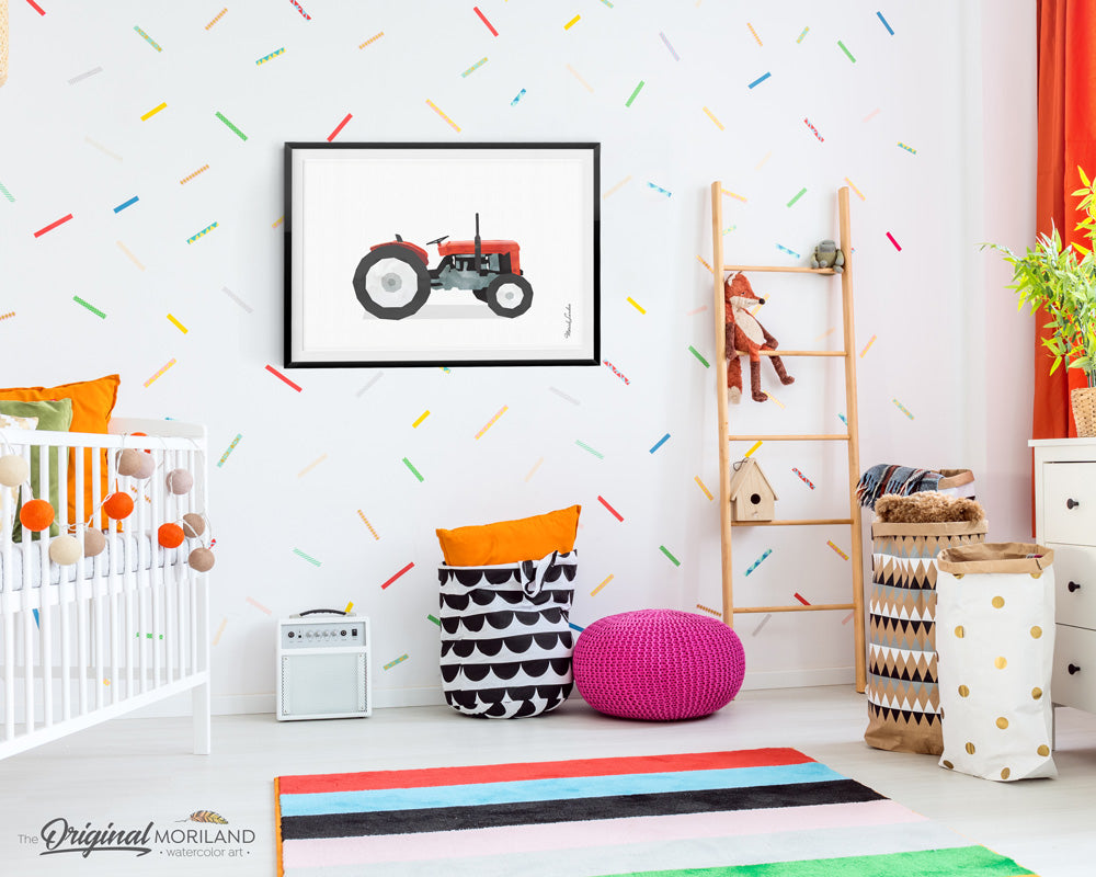 red tractor watercolor wall art print for boy room and nursery decor