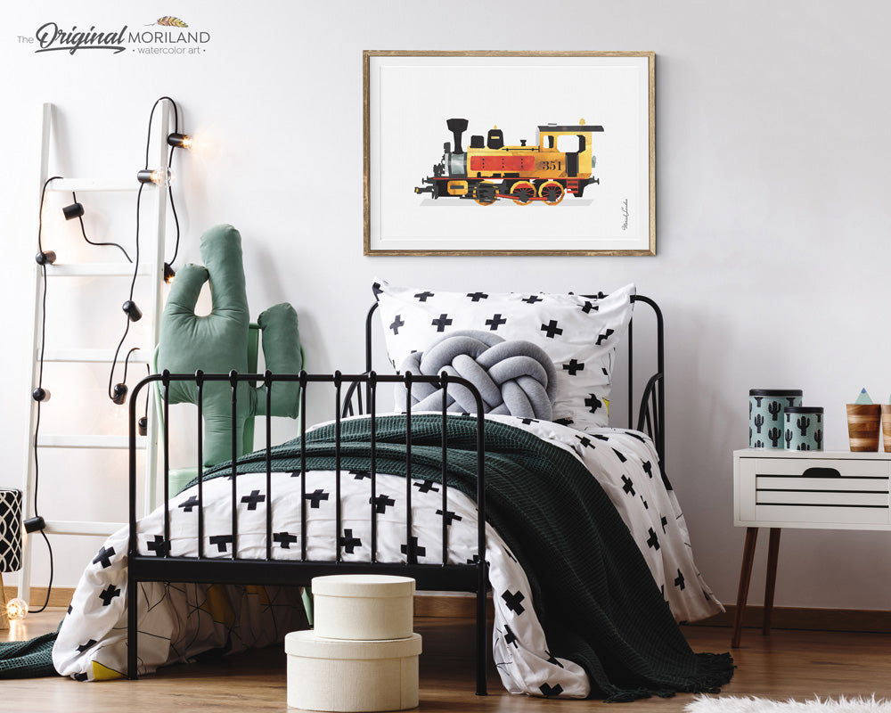 Steam Locomotive train wall art Print for kids room and nursery decor
