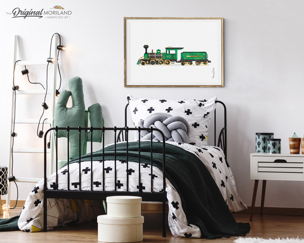 Steam locomotive train watercolor wall art print for nursery and boys bedroom decor