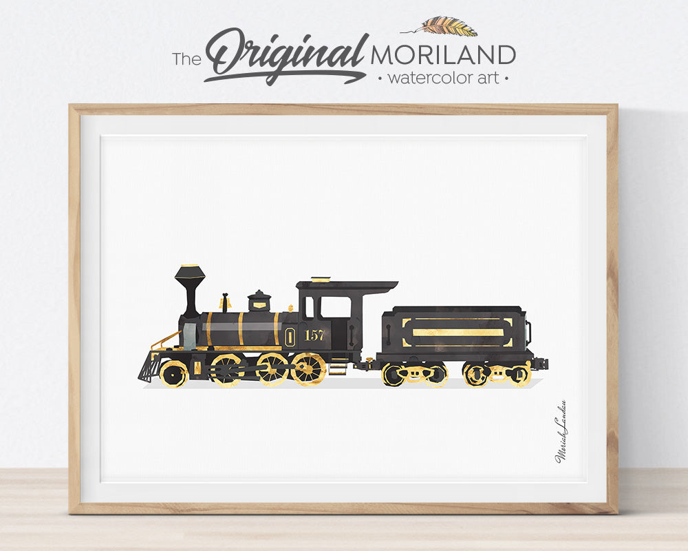 black and gold vintage train art print