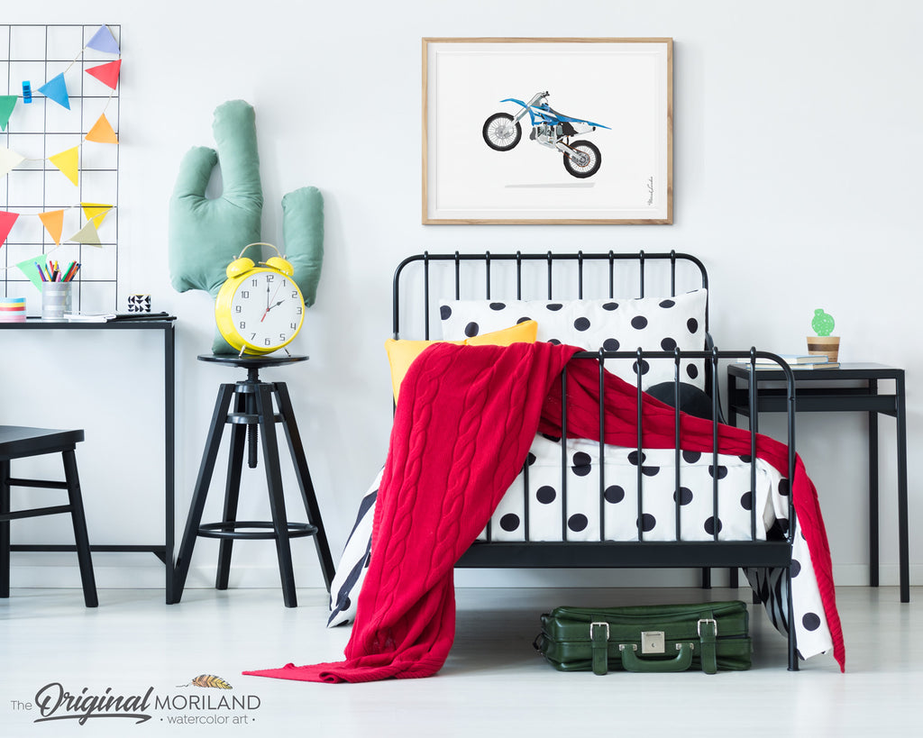 dirt bike wall art print for boys bedroom and nursery decor
