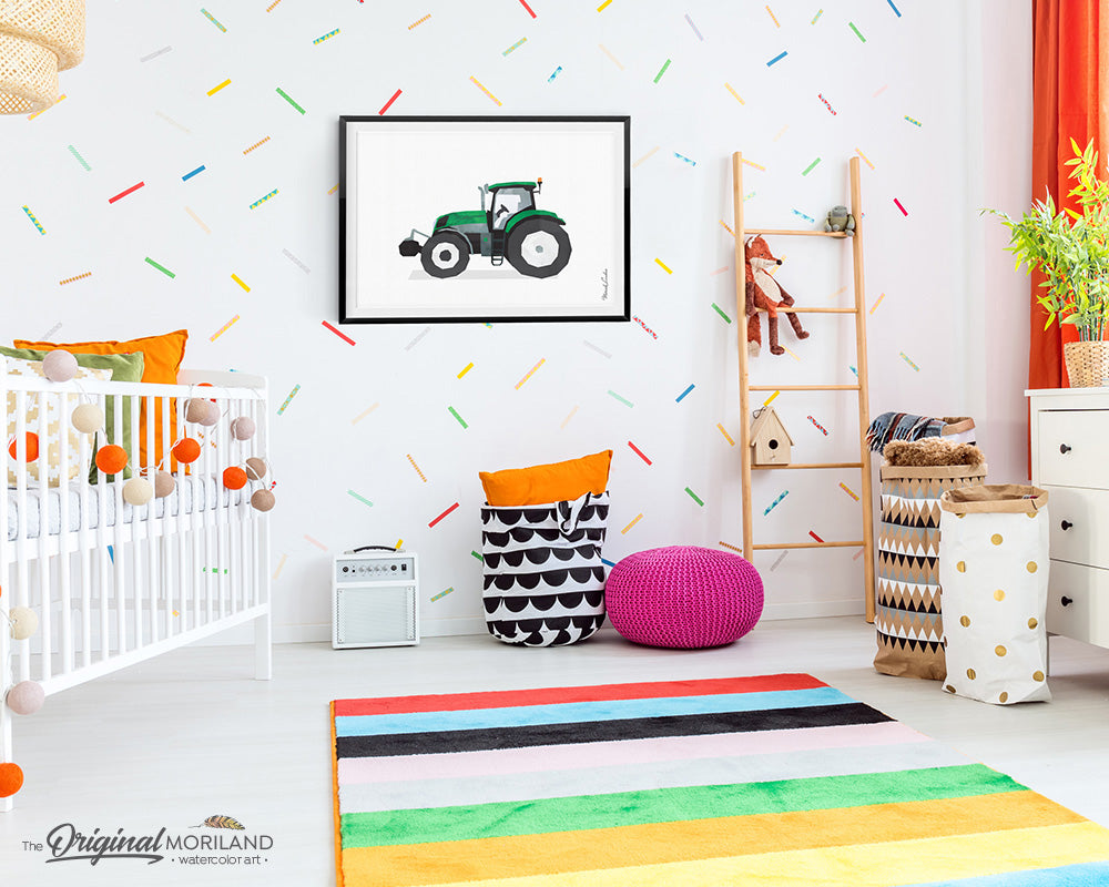 tractor watercolor wall art print for boy room and nursery decor