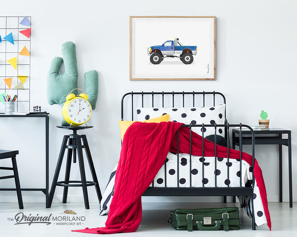 Lifted Truck art, pickup monster truck wall art print for boy room decor