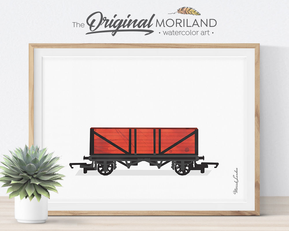 Train Prints, Train Themed Room Decor, Train Wagon Wall Art, Watercolor