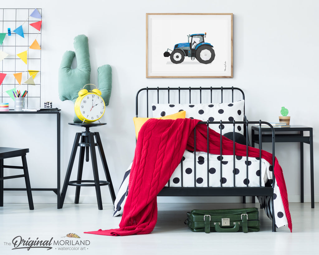 Blue Watercolor Tractor Wall Art for Boys Farm Room Decor