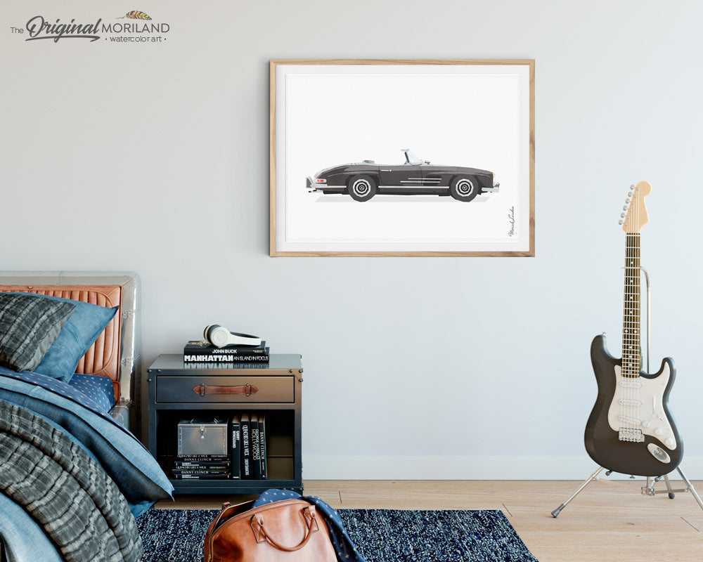 Mercedes Print Classic Car wall Art for boys room decor