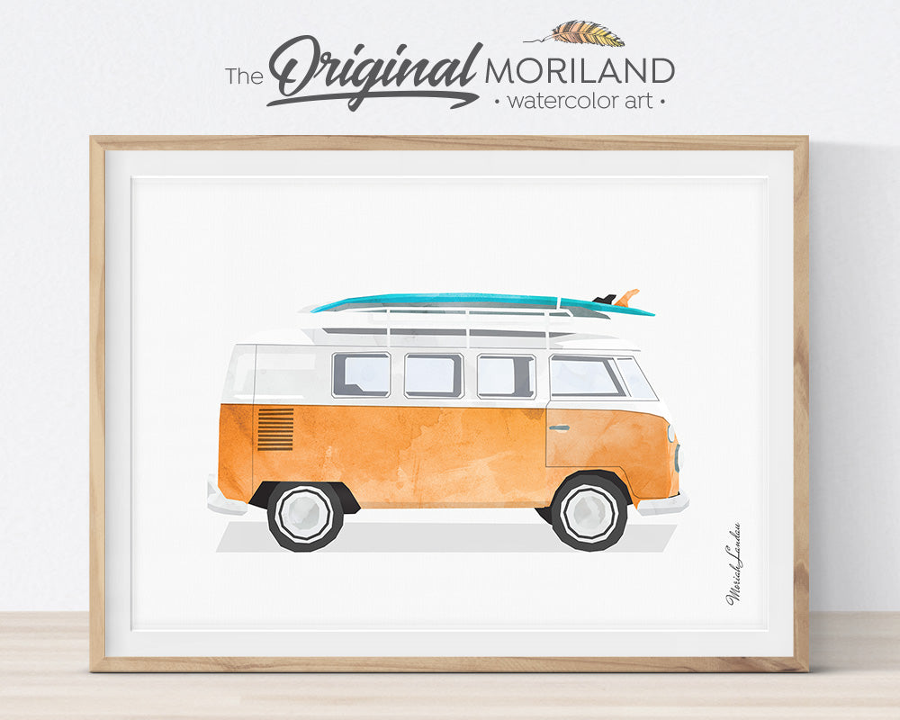 Transportation Wall Art, VW Bus, Van, Surfboard, Print, Nursery Printable