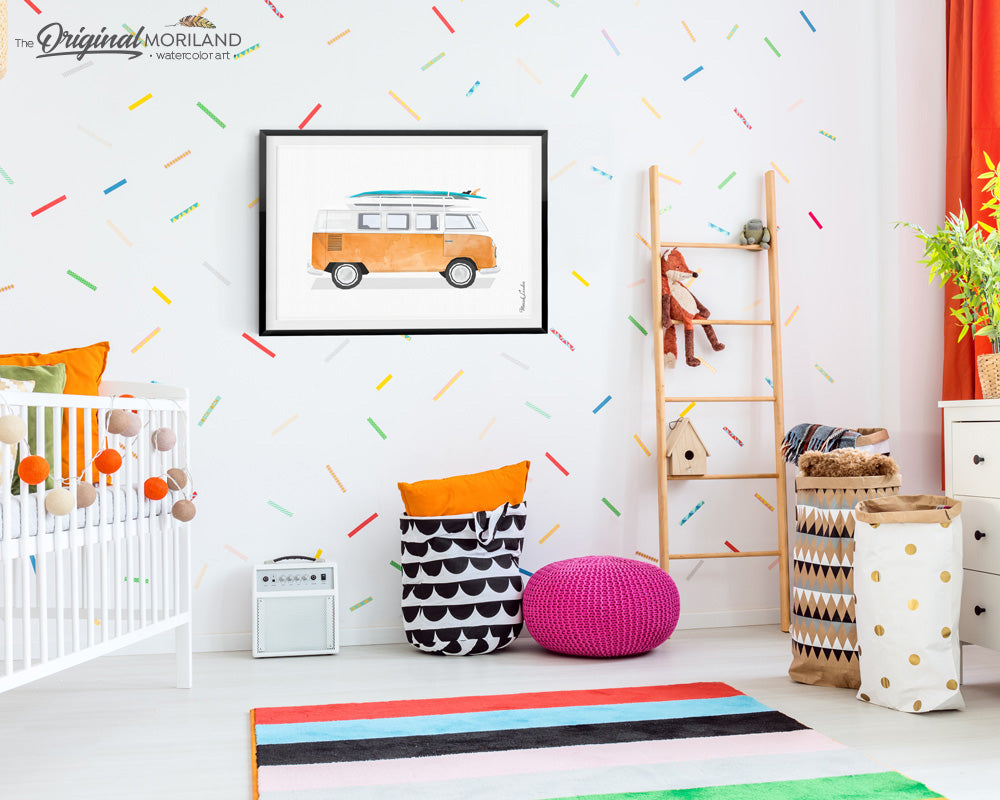 Orange Van Print with surfboard - Printable Art for kids room and nursery decor