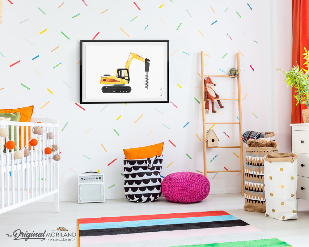 Drill Truck Construction Vehicle Wall Art for Boys Room Decor
