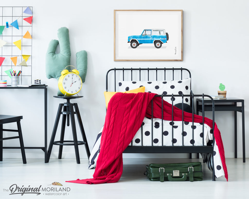 blue SUV print for boy room decor