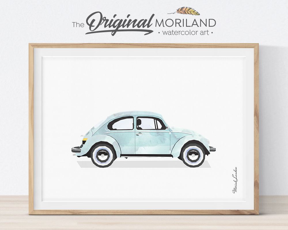 Transportation Wall Art, VW Beetle, Print, Toddler, Nursery Printable