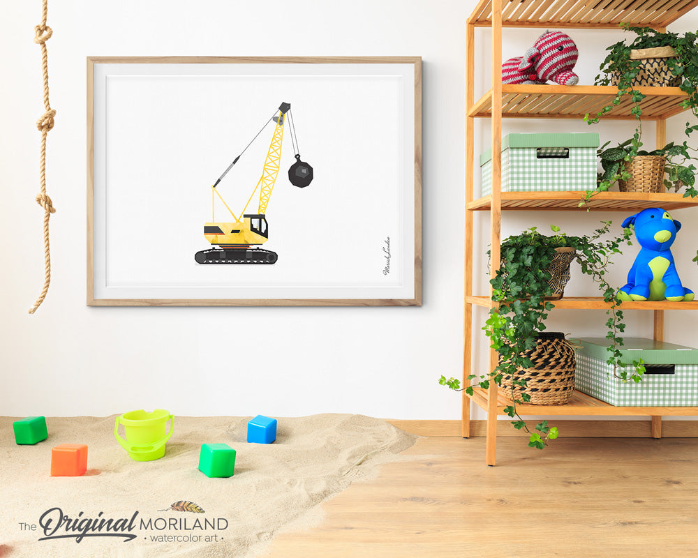 Wrecking Ball Crane Crawler Construction Wall Art for Big Boy Room Decor