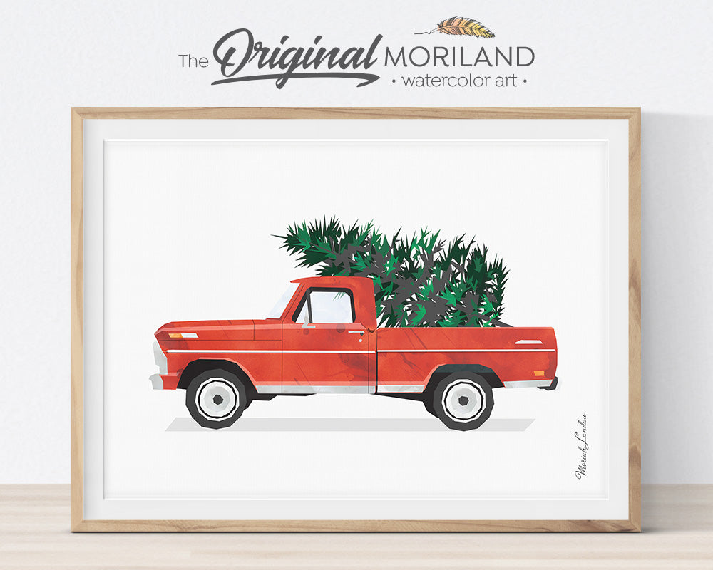 Christmas Red Truck, Printable Decorations Card