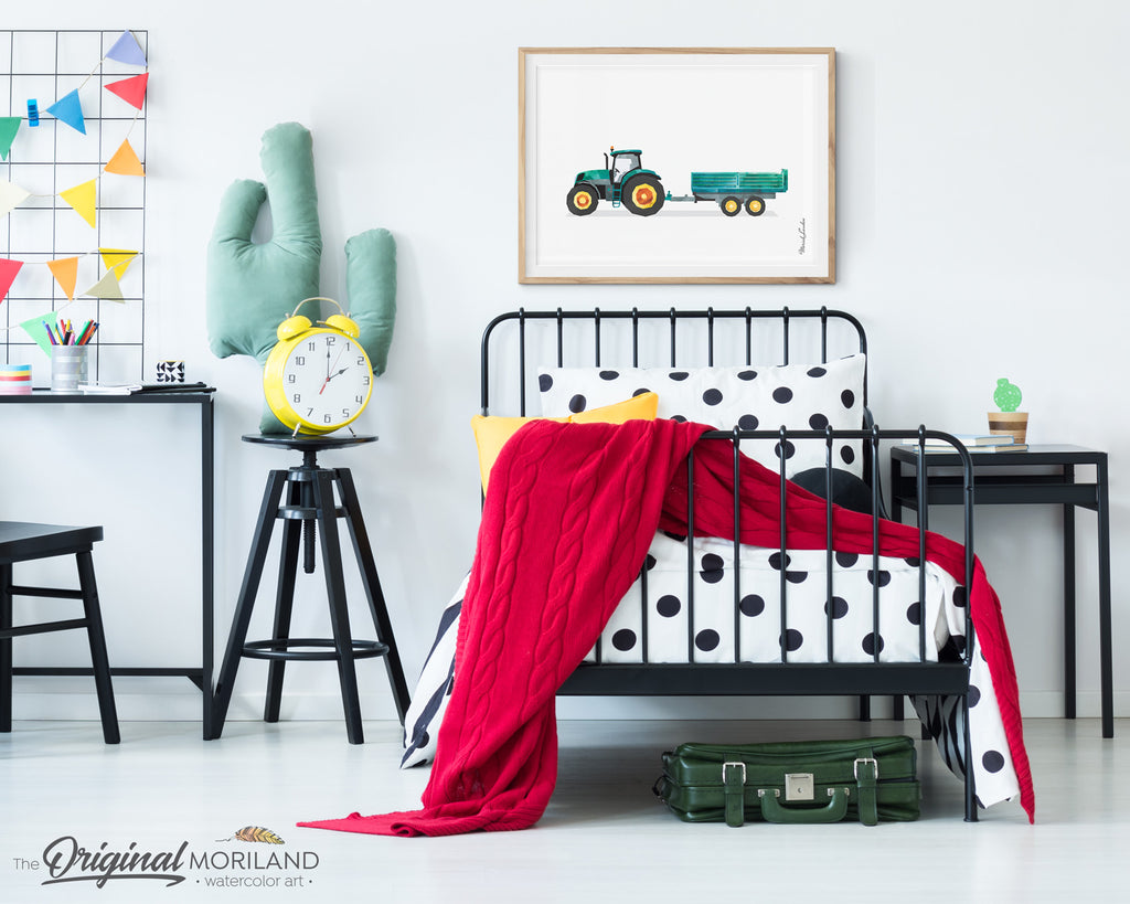 Tractor with Trailer Wall Art Print for Farm Theme Bedroom Decor