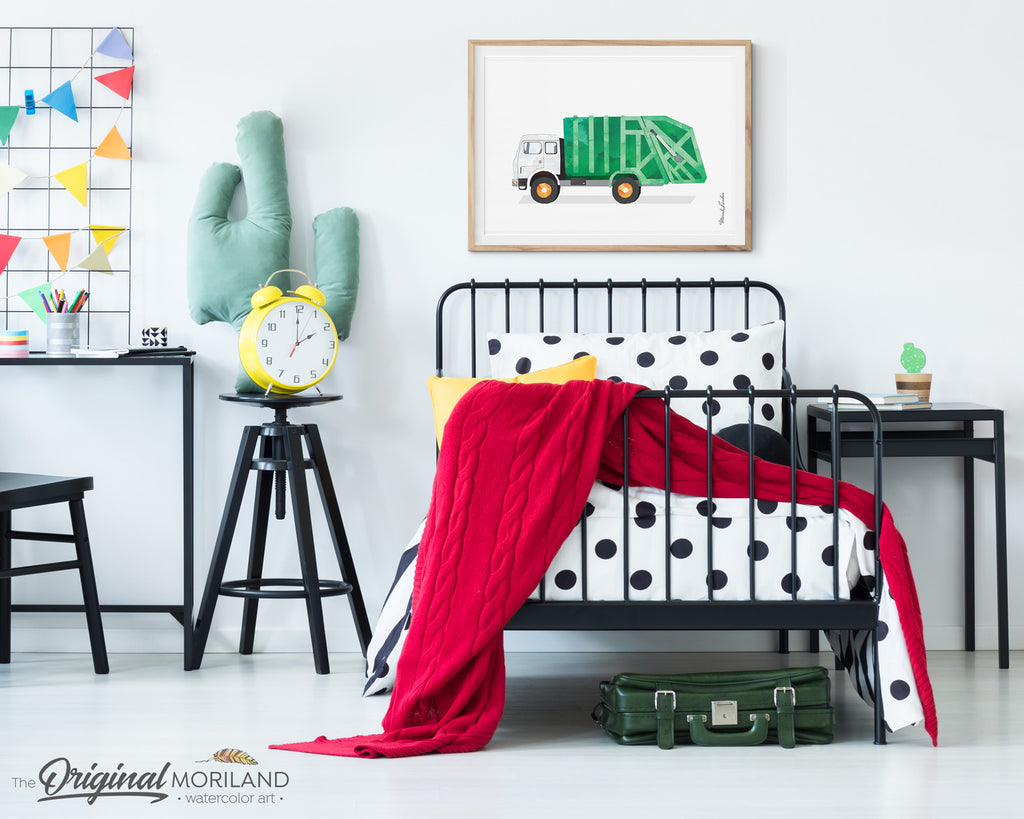 Watercolor Garbage truck printable for birthday and bedroom decor