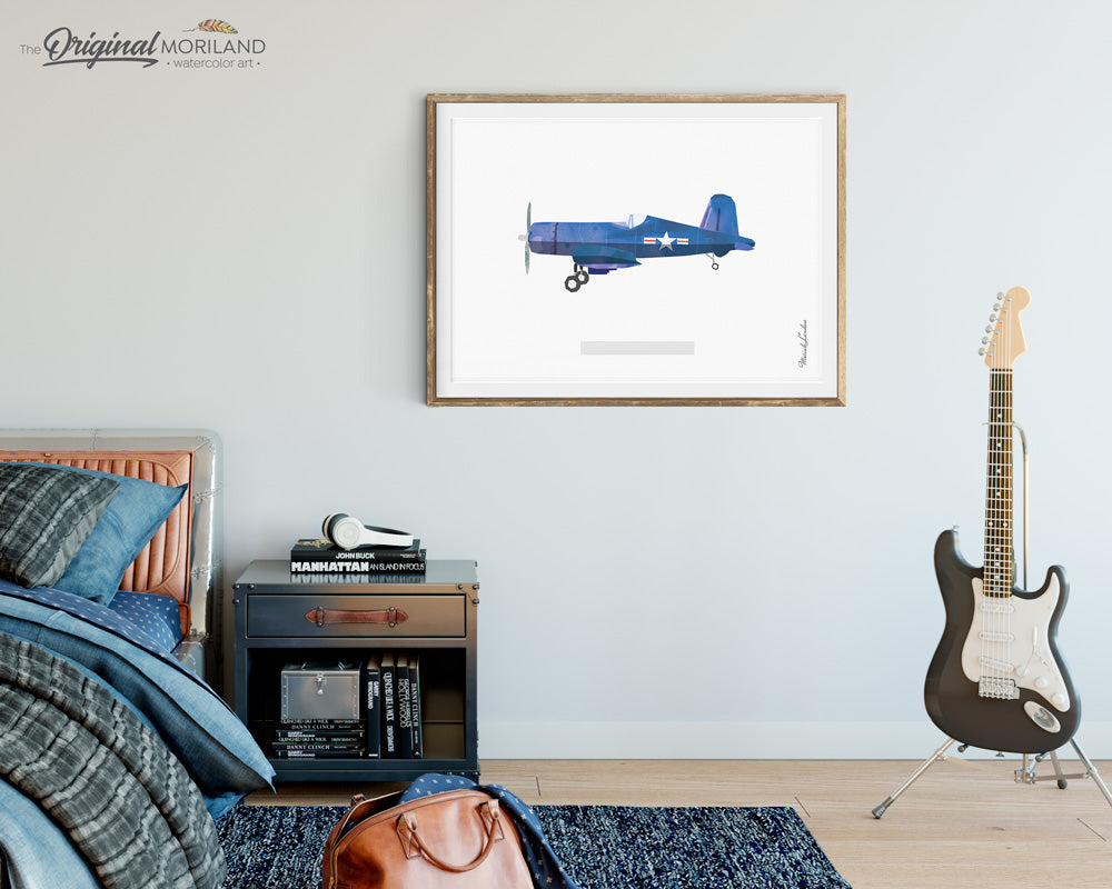 Vought F4U Corsair Fighter Aircraft Wall Art for Bedroom and Office Decor