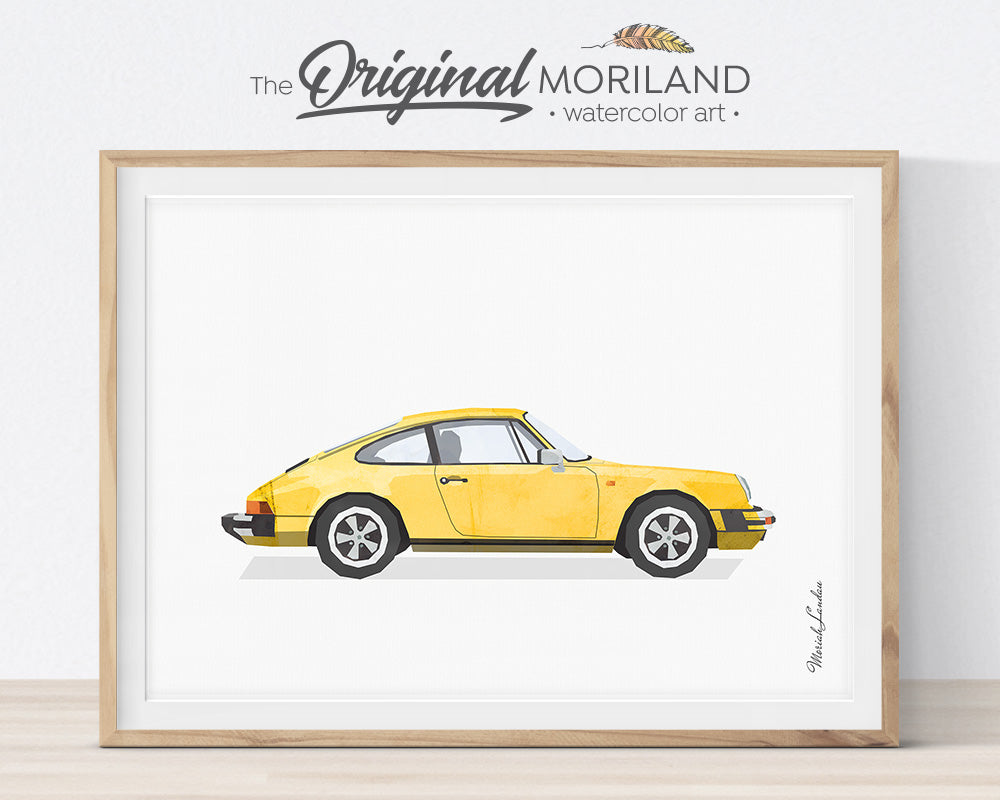 Transportation Wall Art, Porsche 911, Print, Toddler, Nursery Printable