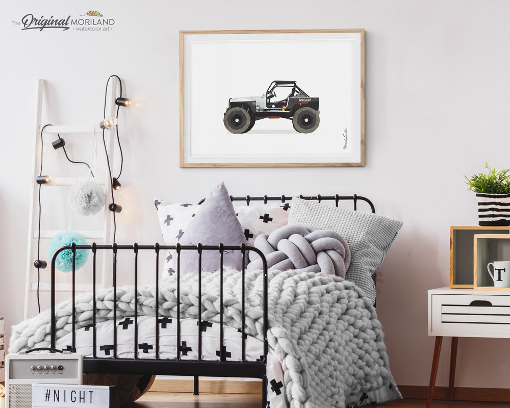 Black Jeep Wall Art for Boys and Girls Room Decor