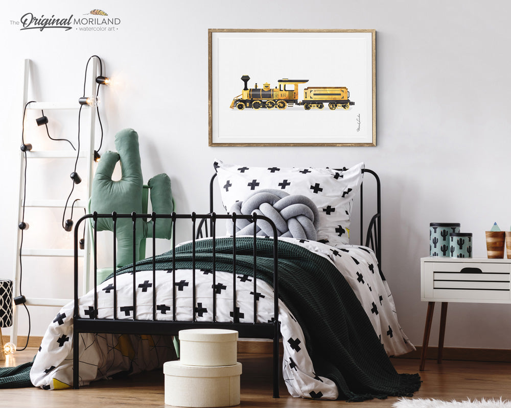 Yellow Train Wall Art for Boys and Girls Bedroom Decor