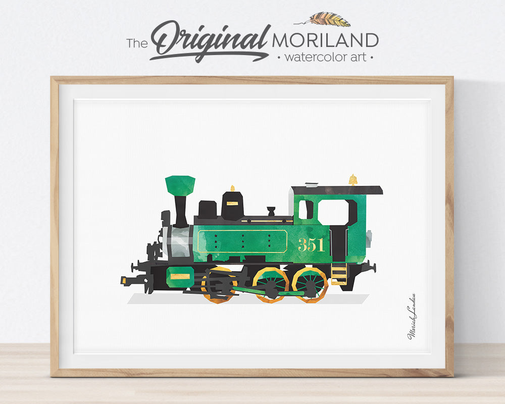Train Prints, Train Themed Room Decor, Steam Engine Wall Art, Watercolor