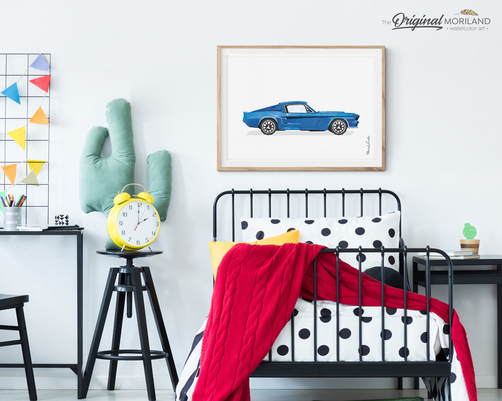 Ford Mustang Wall Art for Men's Office Decor and Boys Bedroom