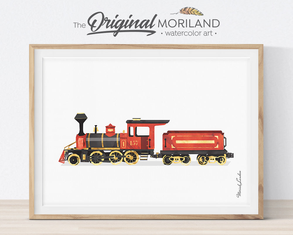 Steam Locomotive Train, Transportation, Railroad, Vehicle, Truck, Print, Wall Art, Toddler, Decor, Printable