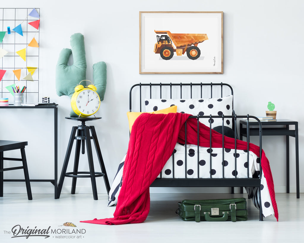 Dump truck watercolor wall art print for boy room and nursery decor