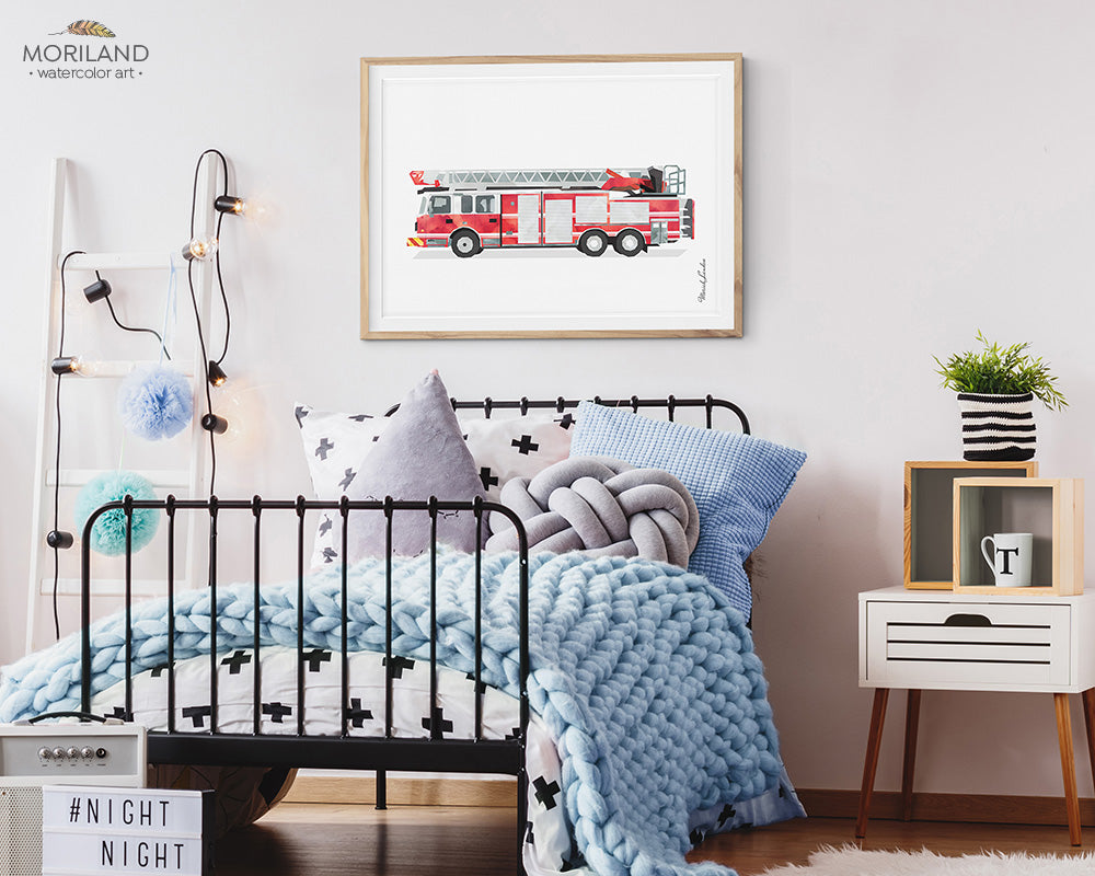 fire truck watercolor wall art print for boy room and nursery decor