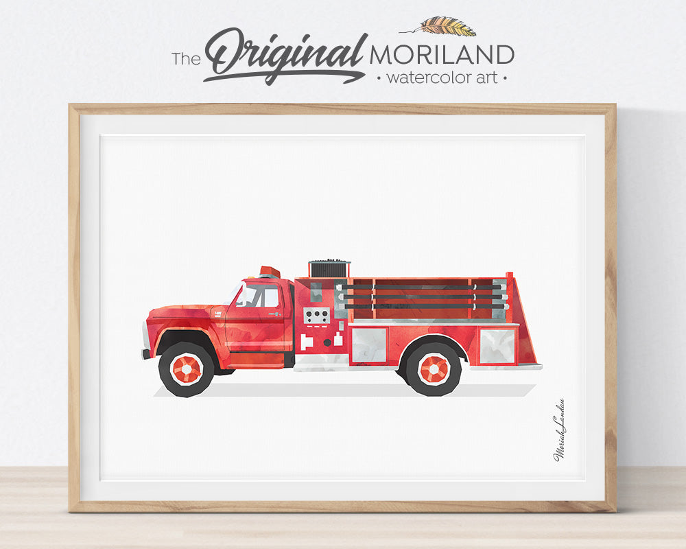 Firetruck print, Set, Fire Engine, Ladder Truck Decor, Firetruck Birthday, Fire Truck Printable, Transportation Wall Art, Poster, Gift, Watercolor, Toddler, Boy Bedroom Art