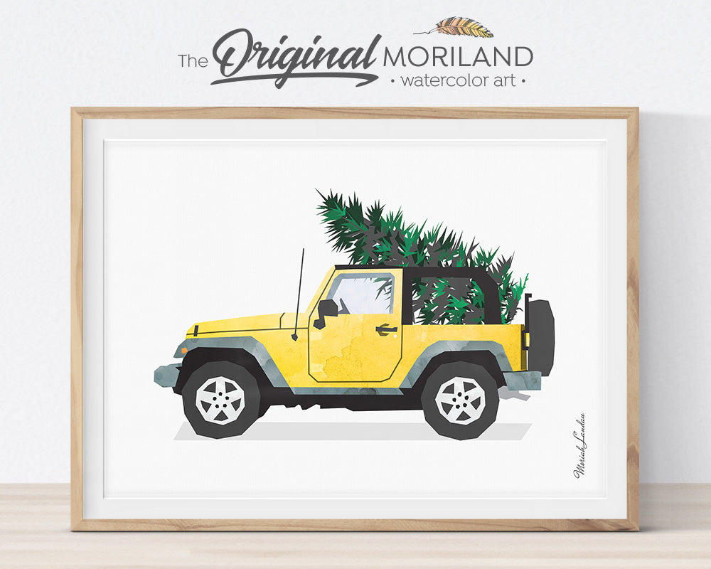 Christmas Jeep, Printable Decorations Card