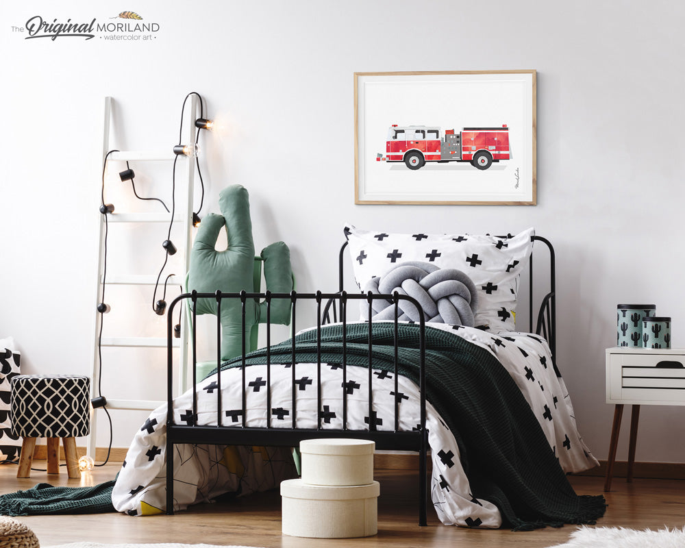 Firetruck wall art Print for boy room and nursery decor, fire engine