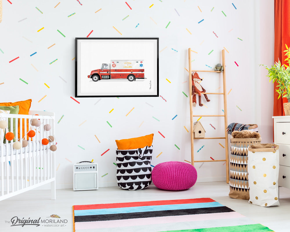 Firetruck Ambulance Print for kids room